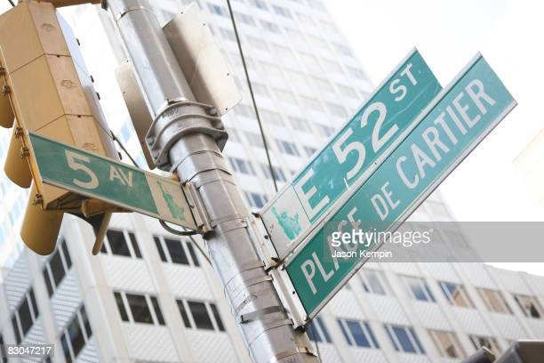 A view of signage outside of the Cartier mansion on 5th Avenue is seen on the same day as Cartier's 3rd Annual LOVEDAY Celebration with lighting of...
