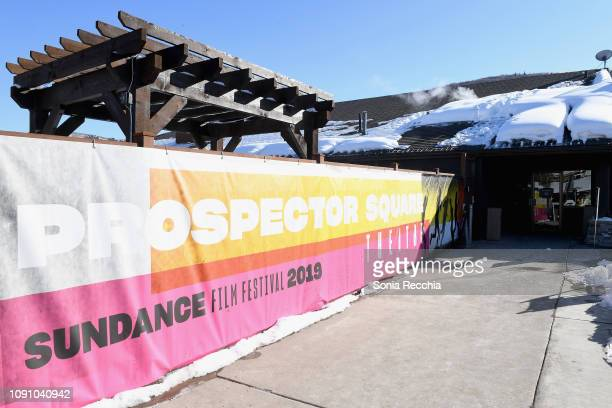 A view of signage outside of the Prospector Square Theatre during the Indie Episodic Program 1 during the 2019 Sundance Film Festival at Prospector...