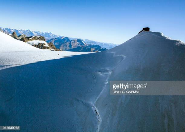 View of Signalkuppe with the Margherita Hut Alagna Valsesia Monte Rosa Piedmont Italy