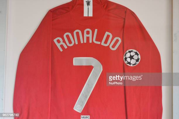A view of signed Manchester United Tshirt of Cristiano Ronaldo hanging on the wall in a frame at 'Bar Quinta Falcao' in Cristiano Ronaldo's...
