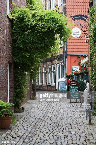 View Of Signs Outside Shops On A Street; Scherwin, Mecklenburg, Germany