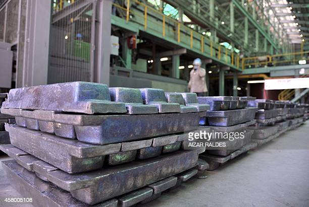 View of silver ingots during the presentation of the first series produced at the Karachipampa silver and lead foundry which starts its activity 30...