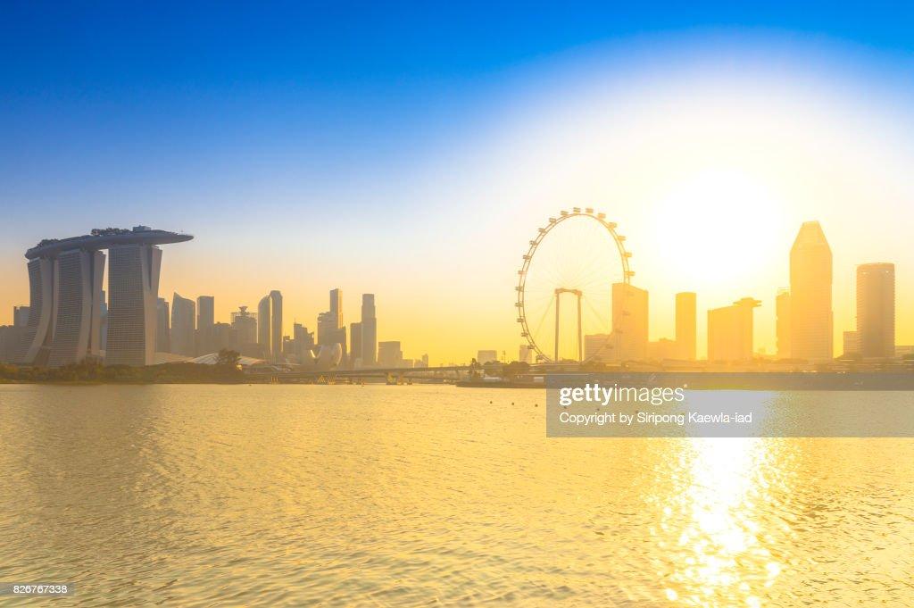 View of Singapore landmark during sunset taken from Marina Barrage. : Stock Photo