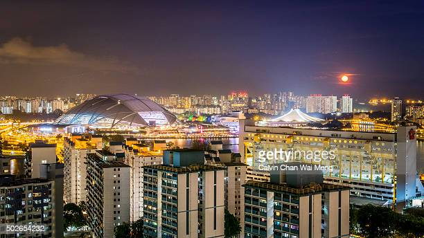 view of singapore sports hub, buildings skyline at night - singapore sports hub fotografías e imágenes de stock