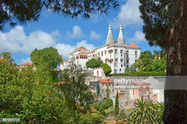 View of Sintra National Palace, an imposing medieval Royal Palace in Sintra, Portugal