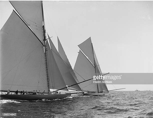 View of Sir Thomas Lipton's Shamrock I and JP Morgan's yacht Columbia, after the start of the America's Cup race, October 7, 1899.