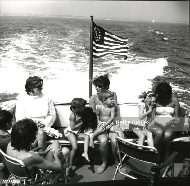View of sisters Patricia Kennedy Lawford and Jean Kennedy Smith along with their sisterinlaw Ethel Skakel Kennedy along with several of their...