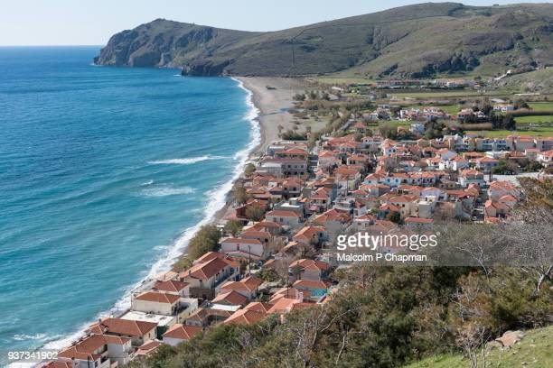 view of skala eressos, mytilene, lesvos, greece. eresos is the birthplace of the poet sappho - lesbos stock photos and pictures