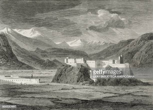 View of Skardu, on the Indus river, detail, Pakistan, illustration from the magazine The Illustrated London News, volume XLVI, February 4, 1865.