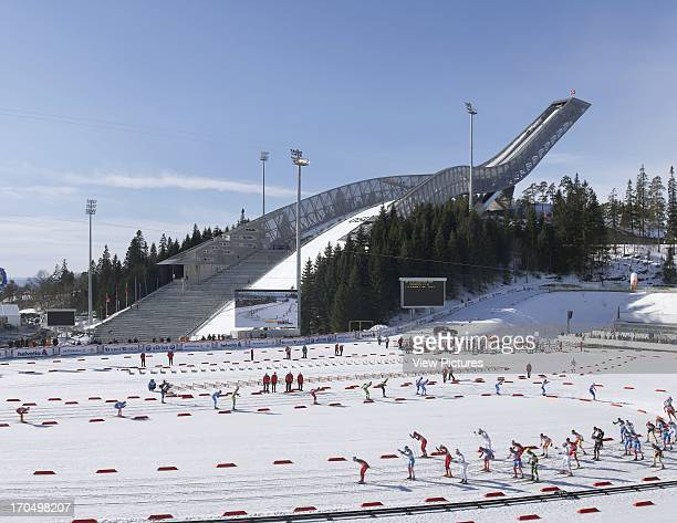 View of ski jump and main arena with skiers Holmenkollen Ski Jump Ski Jump Europe Norway JDS Architects