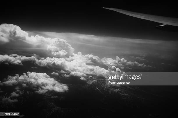 View of sky and clouds from aeroplane, Japan