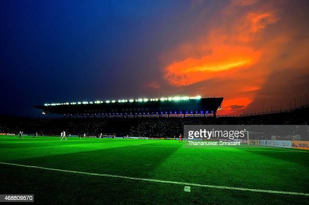 View of sky inside Buriram Stadium during the Asian Champions League match between Buriram United and Gamba Osaka at Buriram Stadium on April 7, 2015...