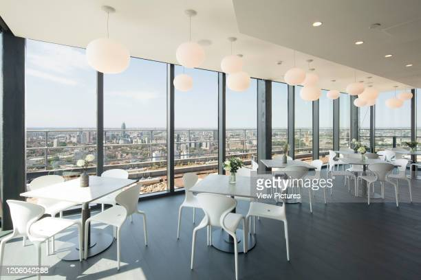 View of sky lounge looking out over the city Highpoint Newington Butts Elephant and Castle United Kingdom Architect Rogers Stirk Harbour Partners...
