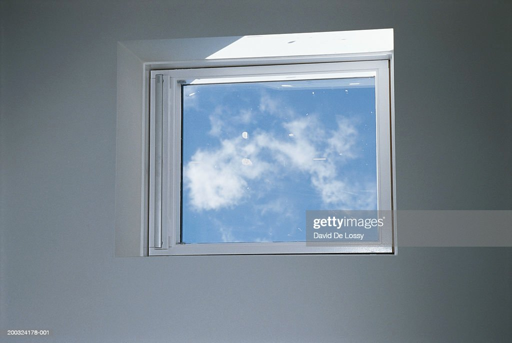 View of sky through glass window : Stock Photo