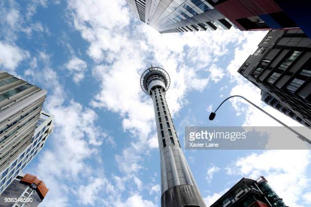 A view of Sky Tower on March 18 2018 in Auckland New Zealand Auckland is the largest city in New Zealand with a population of approximately 15...