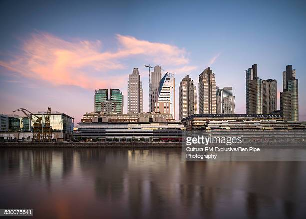 View of skyline and Rio de la Plata river, Puerto Madero, Buenos Aires, Argentina