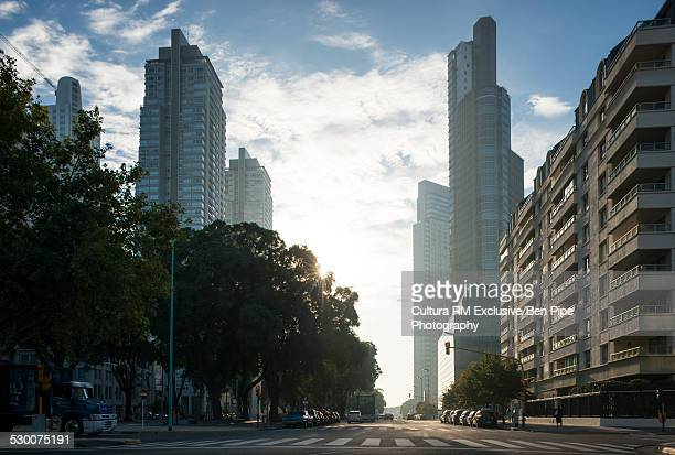 View of skyline at dawn, Puerto Madero, Buenos Aires, Argentina