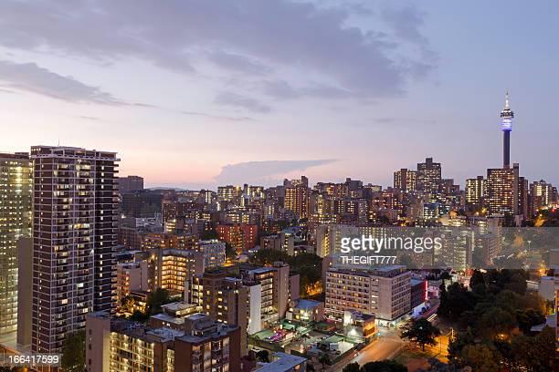 Vista do horizonte de Joanesburgo, África do Sul