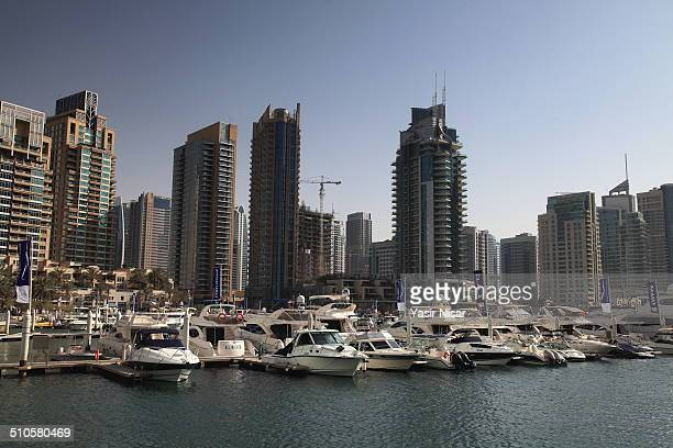 A view of skyscrapers at Dubai Marina