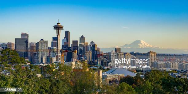 view of skyscrapers in city - seattle stock pictures, royalty-free photos & images