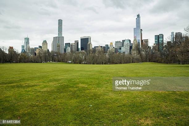 New York United States of America February 25 View of skyscrapers in Manhattan from Central Park on February 25 2016 in New York United States of...