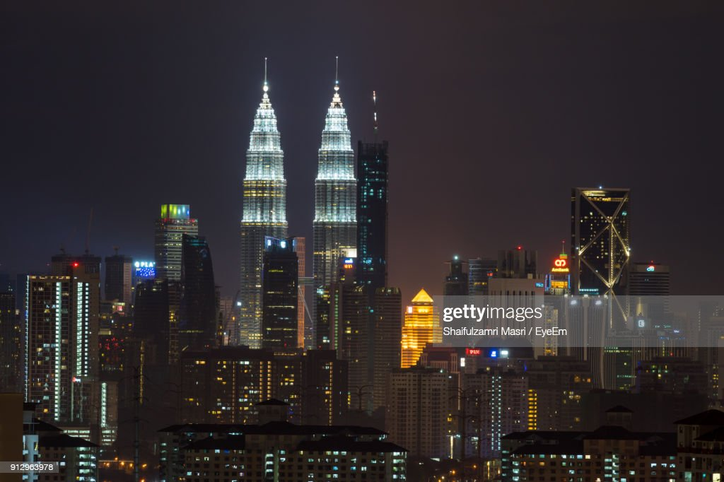 View Of Skyscrapers Lit Up At Night : Stock Photo