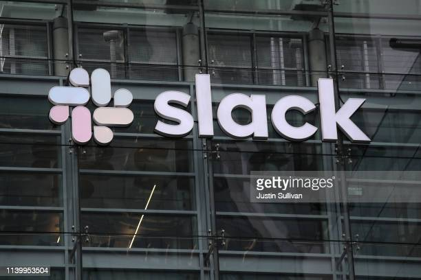 View of Slack headquarters on April 02, 2019 in San Francisco, California. Workplace messaging company Slack Technologies Inc. Announced plans to...