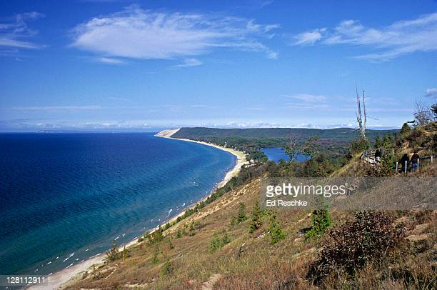 view of sleeping bear dunes national lakeshore seen from empire bluffs. michigan. usa - ed reschke photography stock photos and pictures