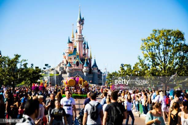 View of Sleeping Beauty Castle at Disneyland Paris, in Paris, France, on September 14, 2019. Disneyland Paris is one of Europe's most popular...