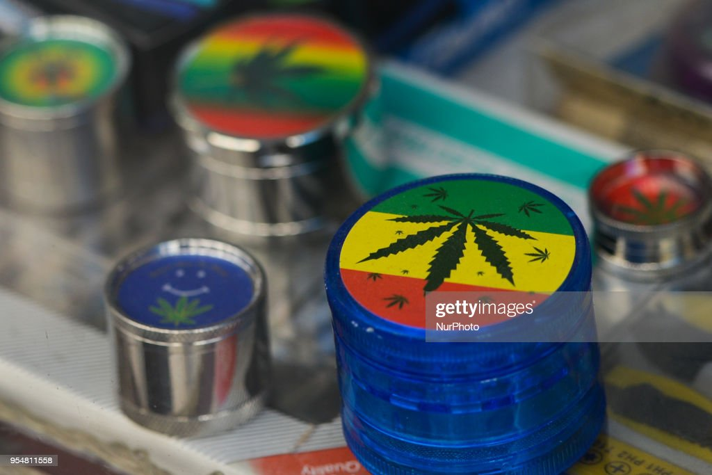 A view of small gift boxes with images of Marijuana, on dispaly in the shop window, in Lisbon's historical center. On Thursday, April 26, 2018, in Lisbon, Portugal.