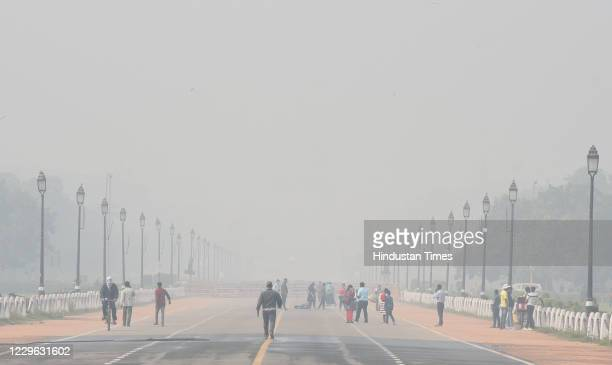View of Smog weather at Rajpath after Diwali festival, on November 15, 2020 in New Delhi, India. Air quality deteriorated further due to the blatant...
