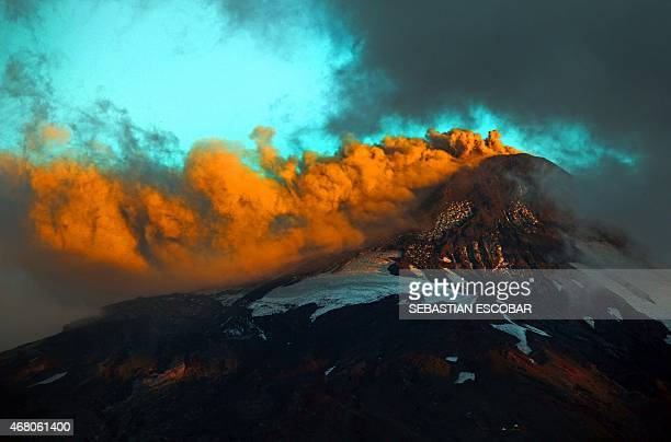 View of smoke billowing from the Villarrica volcano in Pucon some 800 km south of Santiago on March 29 2015 Part of southern Chile is on orange alert...