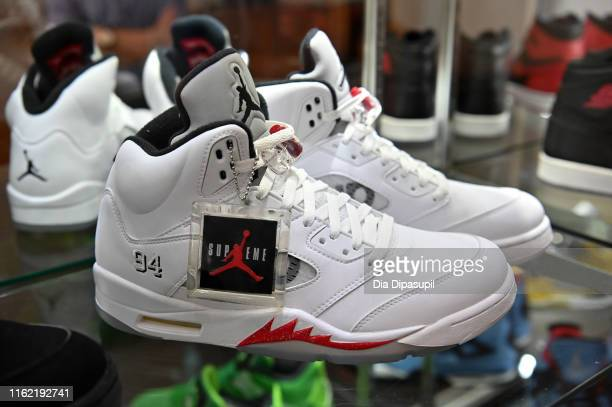 A view of sneakers on display for The Ultimate Sneaker Collection online auction at Sotheby's on July 15 2019 in New York City