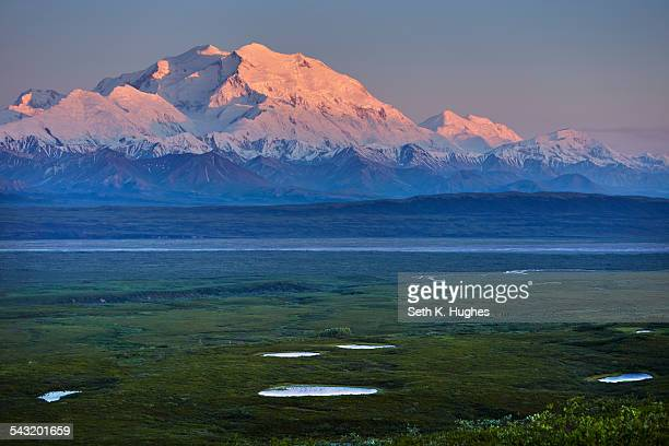 View of snow capped Mount McKinley at sunset, Denali National Park, Alaska, USA