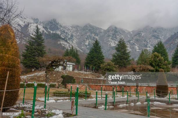 A view of snow clad mountains on December 15 2017 in Srinagar the summer capitol of Indian Administered Kashmir India Cold weather continued in the...