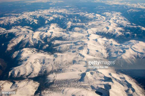 View of snow covered Altai Mountains near Ulgii in western Mongolia