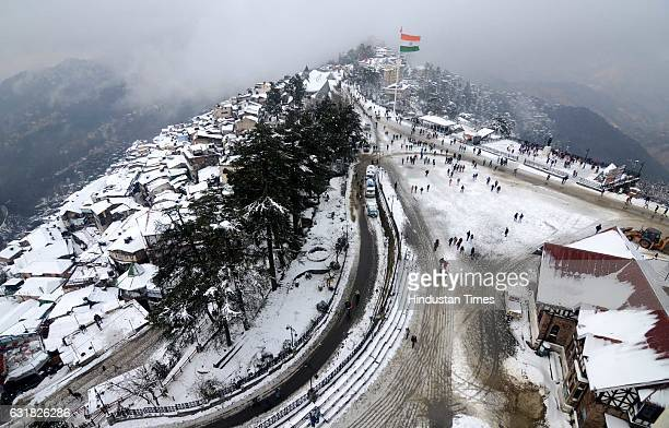 A view of snow covered city and Ridge after Shimla received the second spell of snow from the top of Christ Church on January 16 2017 in Shimla India...