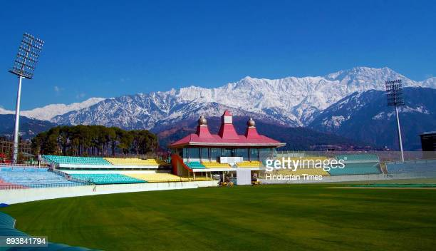 A view of snow covered Dhauladhar Mountain range seen from HPCA stadium on December 16 2017 in Dharamsala India Northern India has turned into winter...