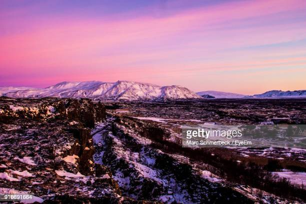 View Of Snow Covered Landscape During Sunset