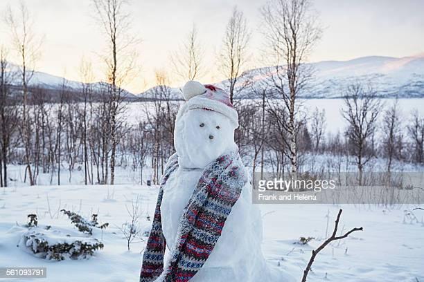 View of snowman looking over its shoulder, Hemavan, Sweden