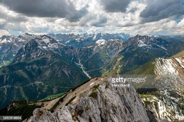 View of snowy alpine peaks, hiking trail from Seekarspitz to Seebergspitz, Tyrol, Austria
