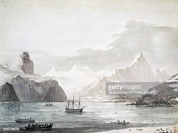 View of Snug Corner Cove Prince William Sound the Resolution and Discovery May 1778 engraving from a drawing by John Webber from an account of the...
