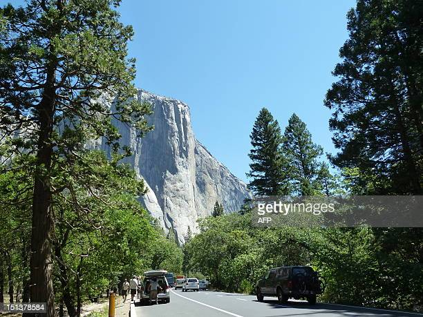 View of soaring rock formations overlooking touristfilled Yosemite Valley in Yosemite National Park taken on June 25 during the time when Hantavirus...