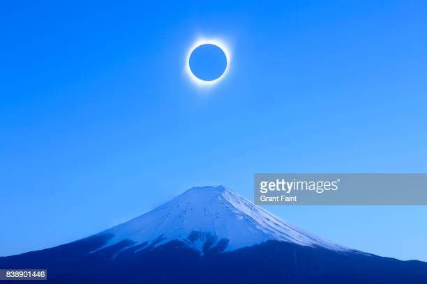 View of solar eclipse in totality.