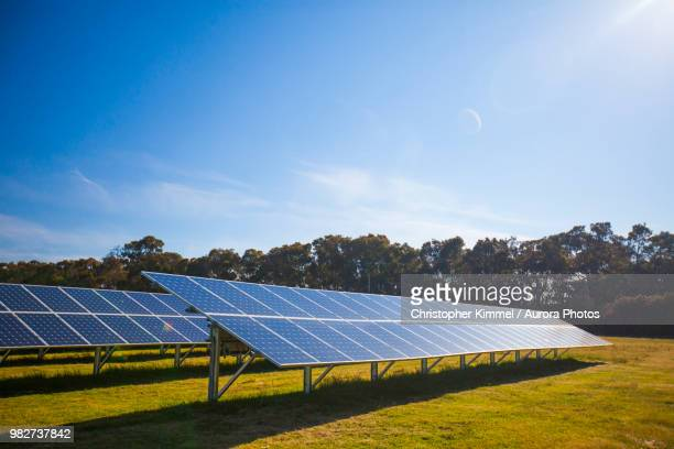 view of solar panels under blue sky - solar energy stock pictures, royalty-free photos & images