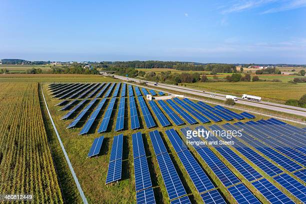 View of solar power panels, Munich, Bavaria, Germany