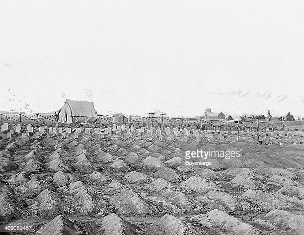 View of soldiers' graves in a cemetary City Point Virginia 1860s