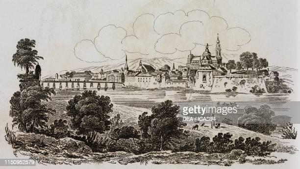 View of Solothurn engraving from La Svizzera pittoresca e i suoi dintorni by Alexandre Martin Mendrisio 1838