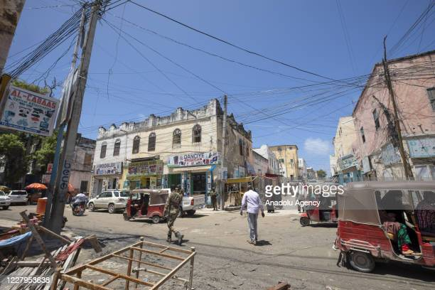 A view of Somalians' stores at Hamar Weyne Bazaar in Mogadishu Somalia on August 07 2020 Stores of clothing spice vegetable fruit meat electronics...