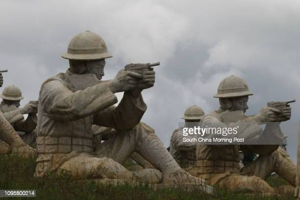 A view of some of the 402 sculptures of soldiers from the Chinese Expeditionary Force which helped defeat Japanese forces during the conflict on Aug...